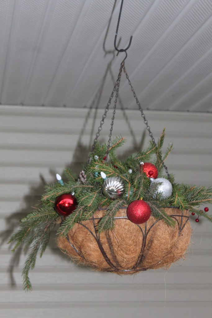 Christmas Hanging Baskets.How To Turn Summer Hanging Baskets Into Great Christmas