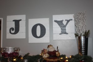 JOY pallet sign made from recycled pallets and paint from other projects.