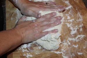 Knead dough for 3 minutes on a floured surface.