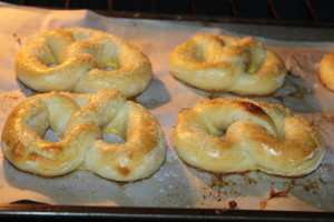 Pretzels will rise in the oven when baking - and brown when placed under the broiler.