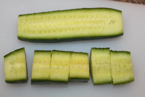 Slice your cucumbers however you desire for this recipe!