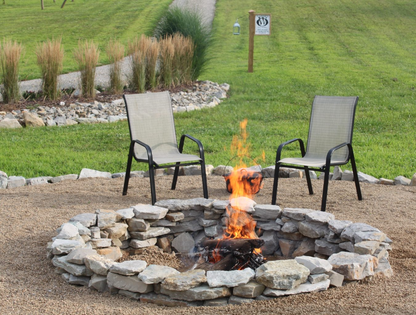 The Completed Stone Fire Pit Project - How We Built It for ... on Garden Ideas With Fire Pit id=15346