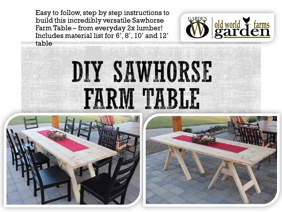 DIY Sawhorse Farm Table Plans