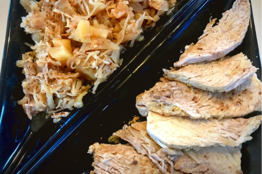slow cooker pork roast, sauerkraut
