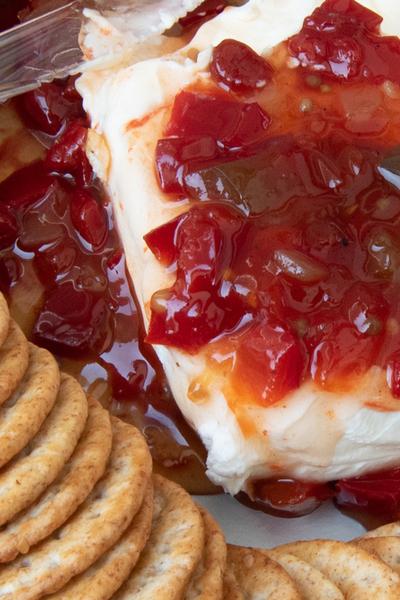 sweet pepper jam over cream cheese