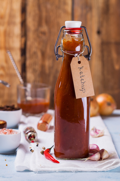 homemade ketchup in a bottle