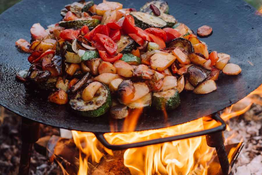 cooking on a fire pit