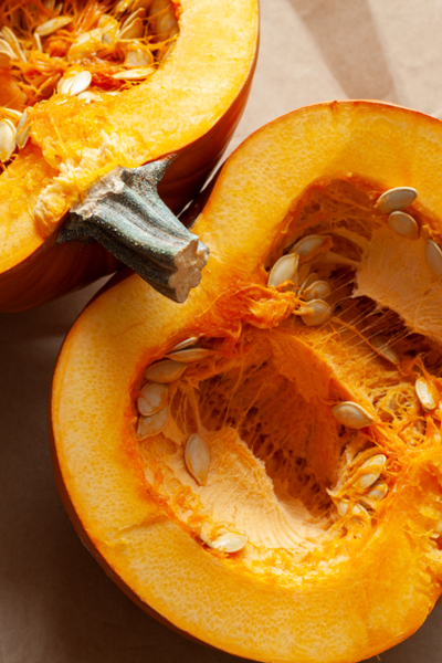 pie pumpkin cut open