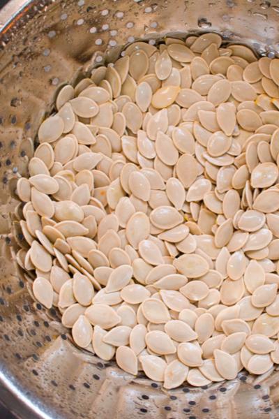 pumpkin seeds in colander