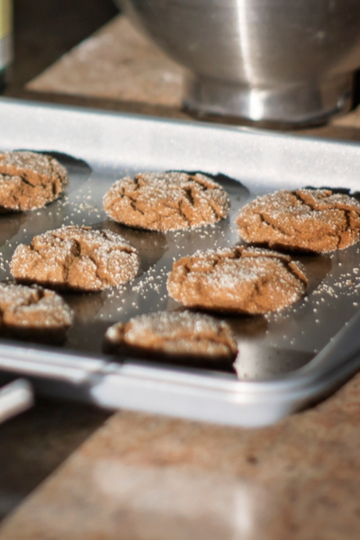molasses cookies on baking sheet
