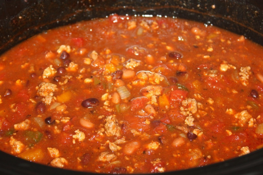cooked slow cooker chili