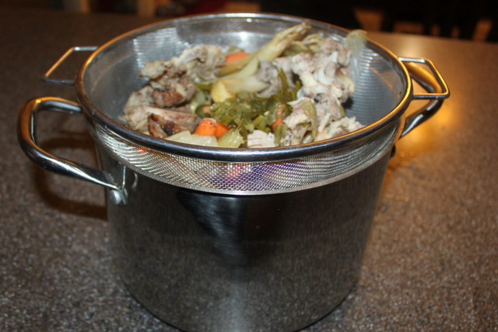 strained chicken and vegetables