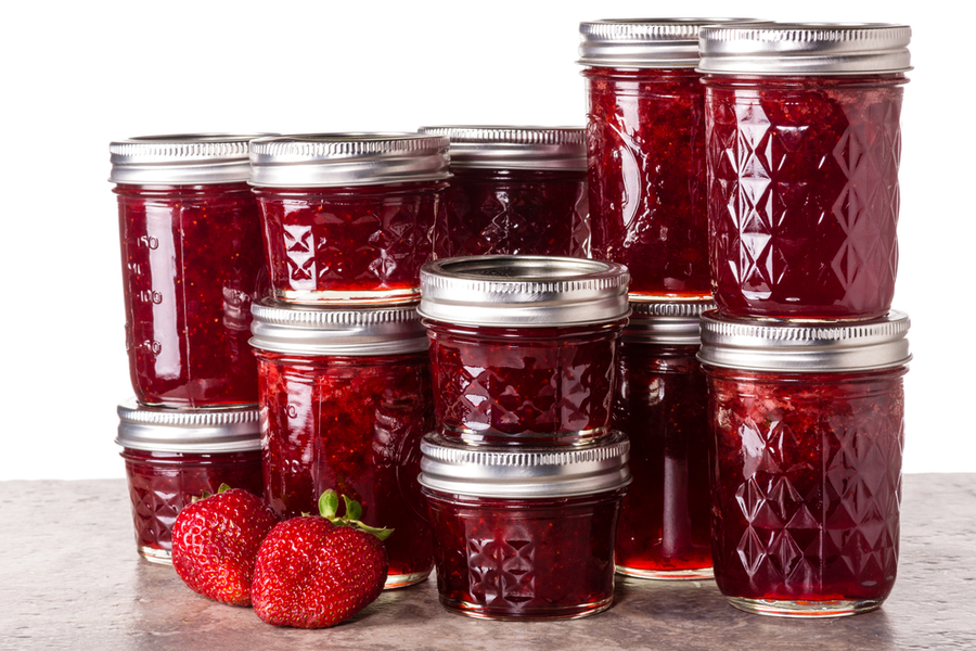 canned strawberry honey jam