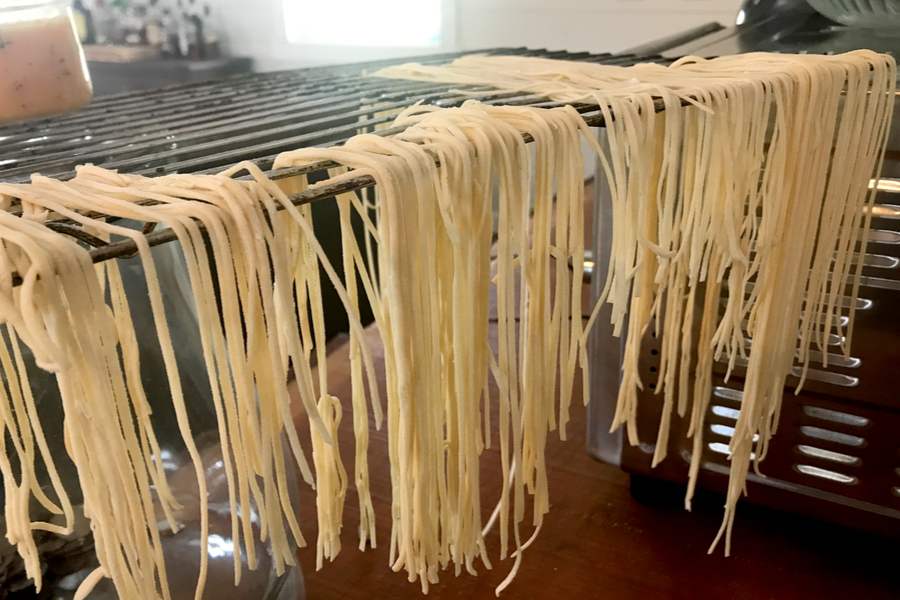 spaghetti noodles drying