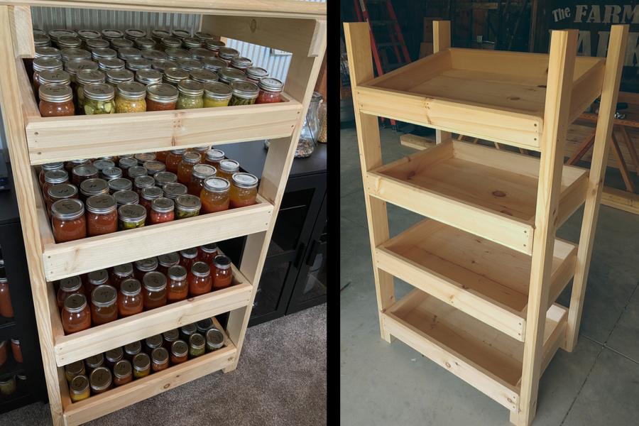 diy 2x4 canning jar cabinet
