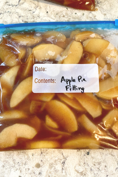 apple pie filling in freezer bag