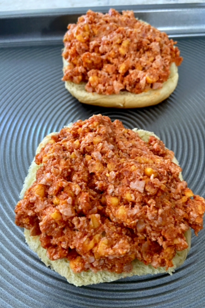 ground mixture on top of buns