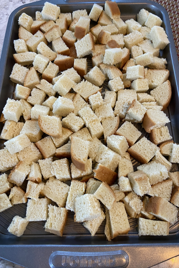 drying bread cubes