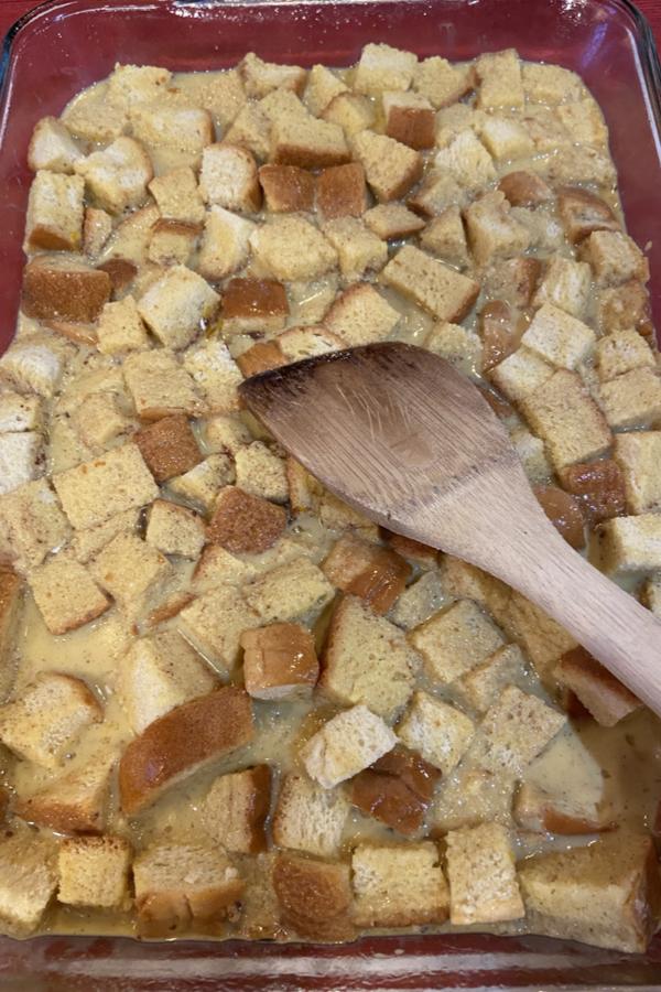 soaking bread cubes