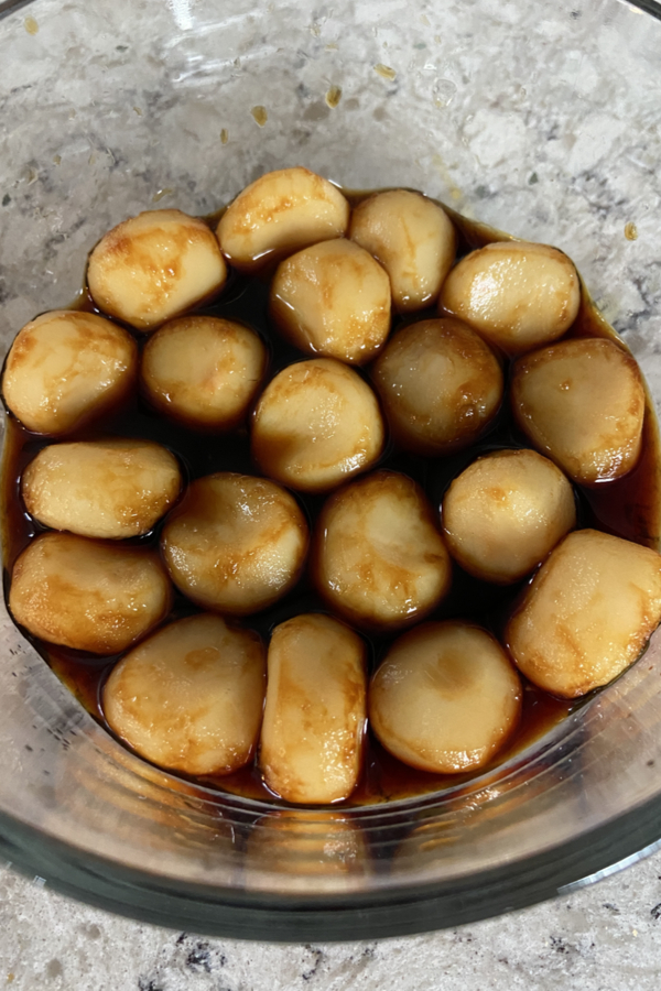 water chestnuts soaking in soy sauce