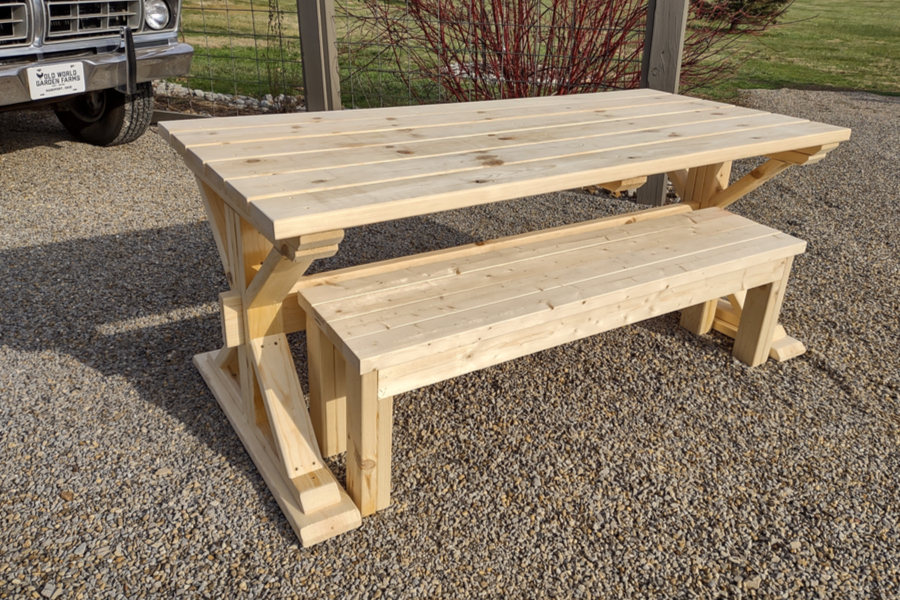 The Most Unique Diy Trestle Picnic Table Ever Strong Sturdy Beautiful
