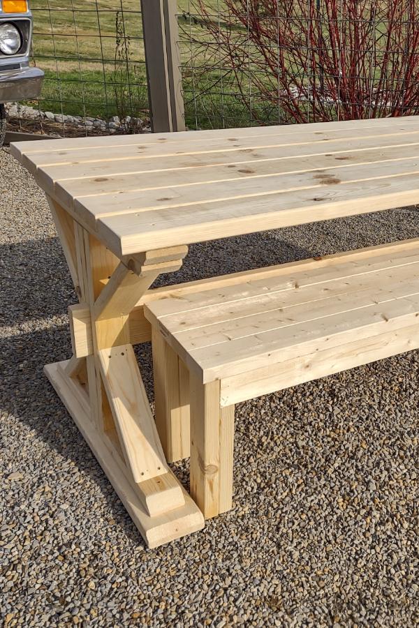diy trestle picnic table