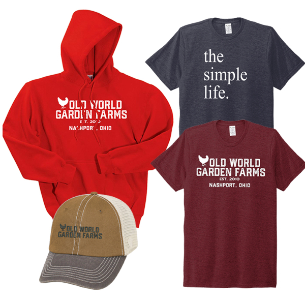 garden tee shirts, sweateshirts and hats