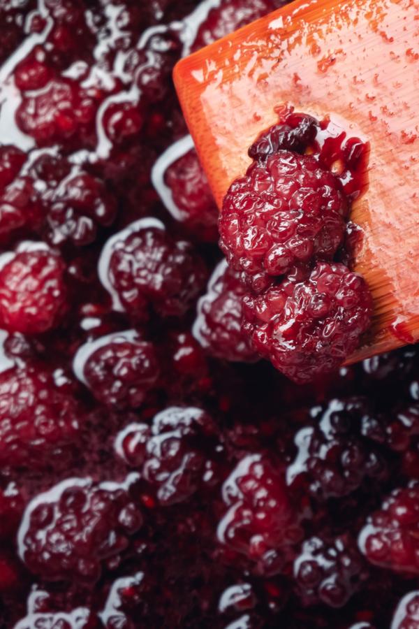 smashing blackberries